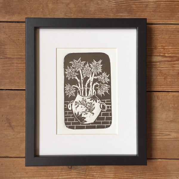 'Tuscan Sunflowers' Floral Linocut Art Print