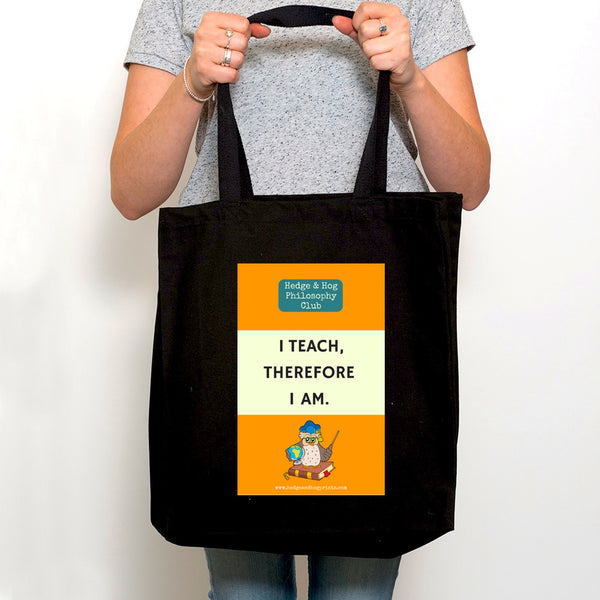 Teacher's Thank you Gift Tote Bag 'I teach, therefore I am'
