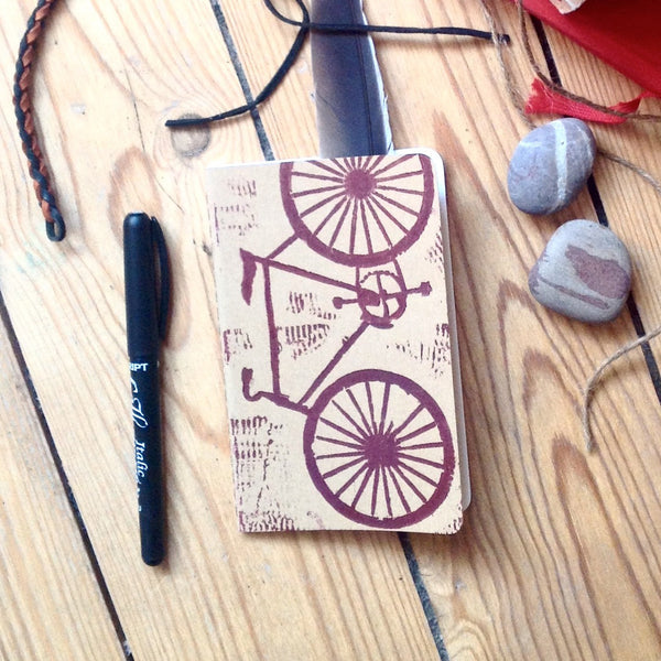 Handprinted Linocut Notebook for Cyclists