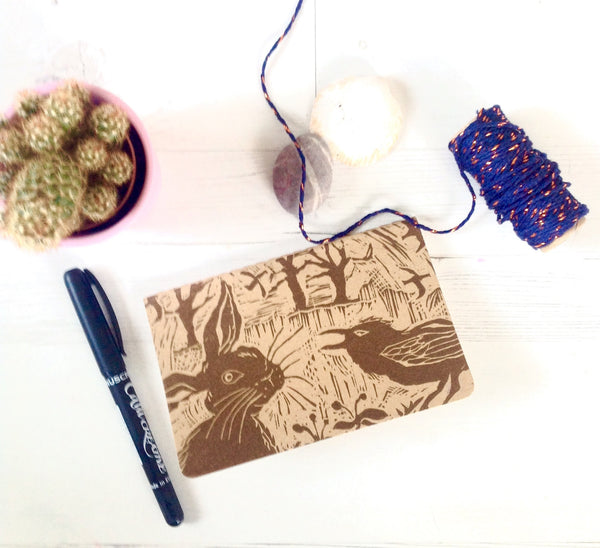 Handprinted Linocut Notebook : Hare and Crow