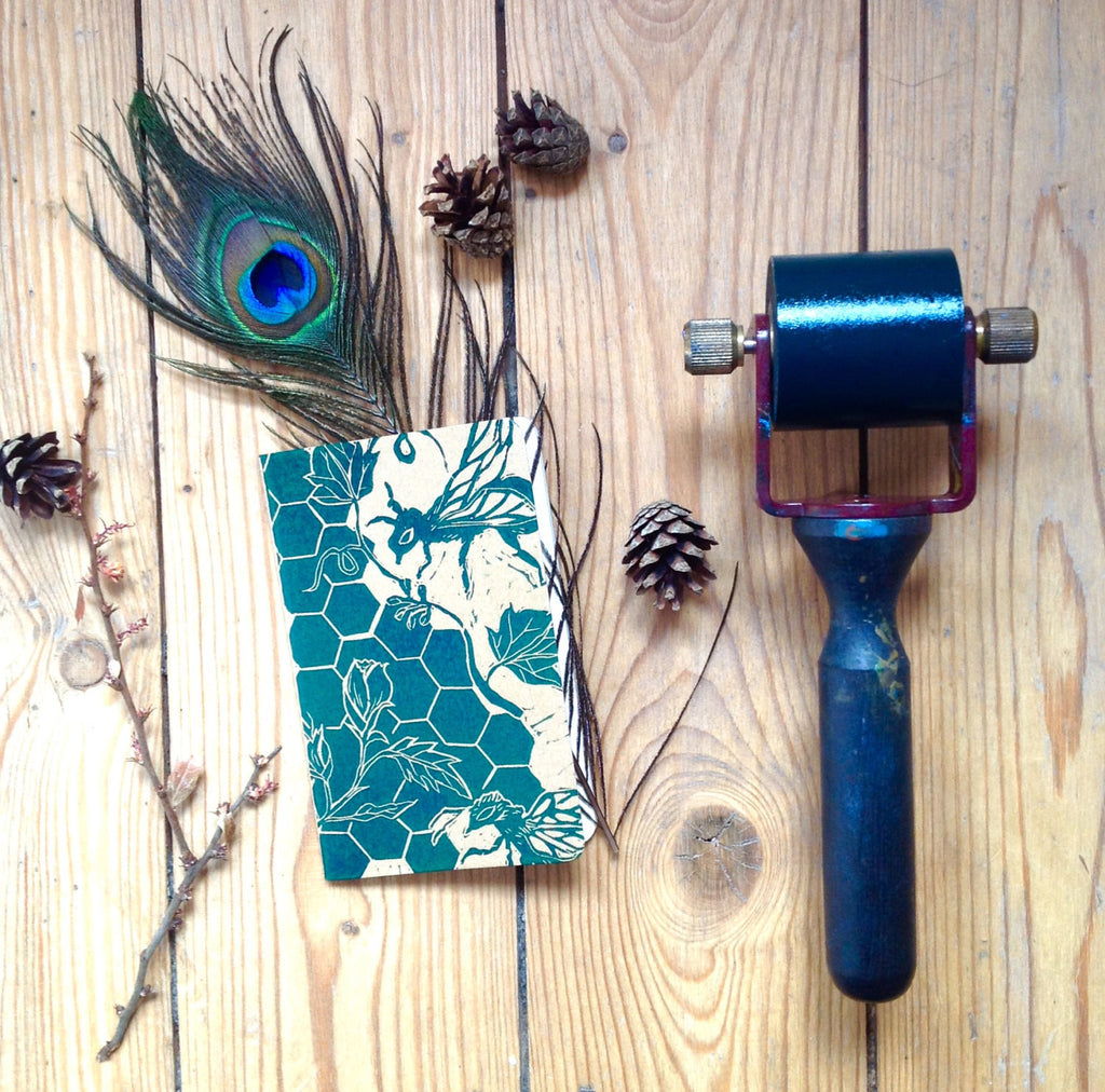 Handprinted Linocut Notebook for Nature Lovers