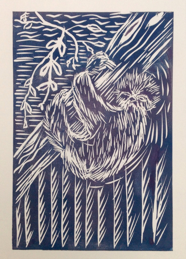 Linocut 'That Friday Feeling' Sloth Print