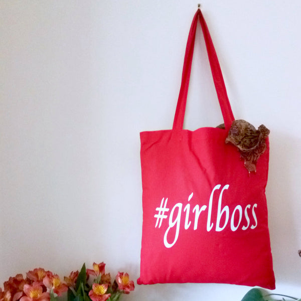 Girl boss hashtag print tote bag