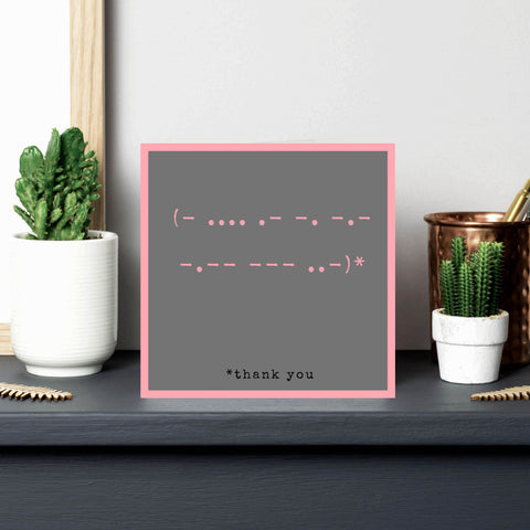Morse Code 'Thank you' card