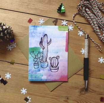 Prickly Pear Cacti Succulent Tropical Card