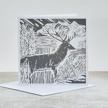 'Winter Stag' Scottish Highlands Blank Card