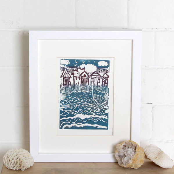 'Beach Huts' Seaside Linocut Print