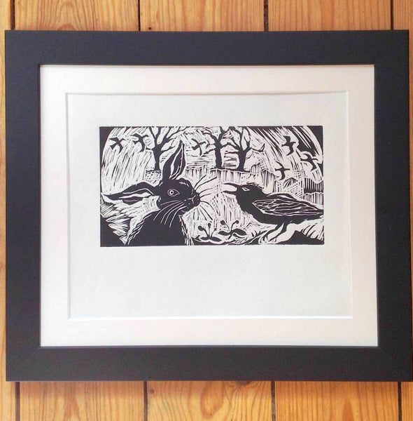 Lincout ' Hare And Crow' Original Art Print