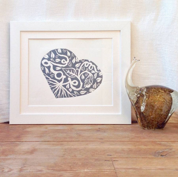 Love Heart Linocut Art Print