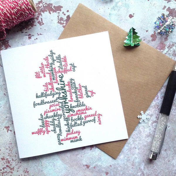 Yorkshire Red Green Christmas Tree Card
