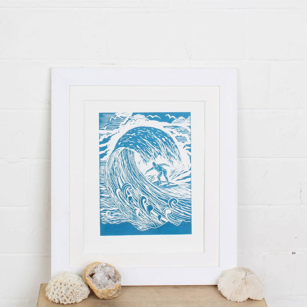 'Surf's Up' Linocut Art Print