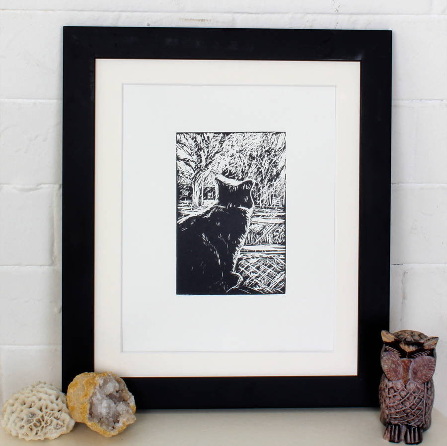 Linocut Art Print 'Waiting For Snow'