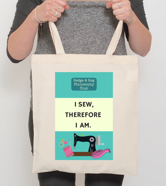 Sewing Tote Bag 'I sew, therefore I am'