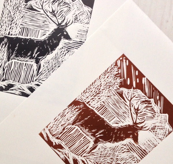 Scottish Highlands Stag Linocut Print