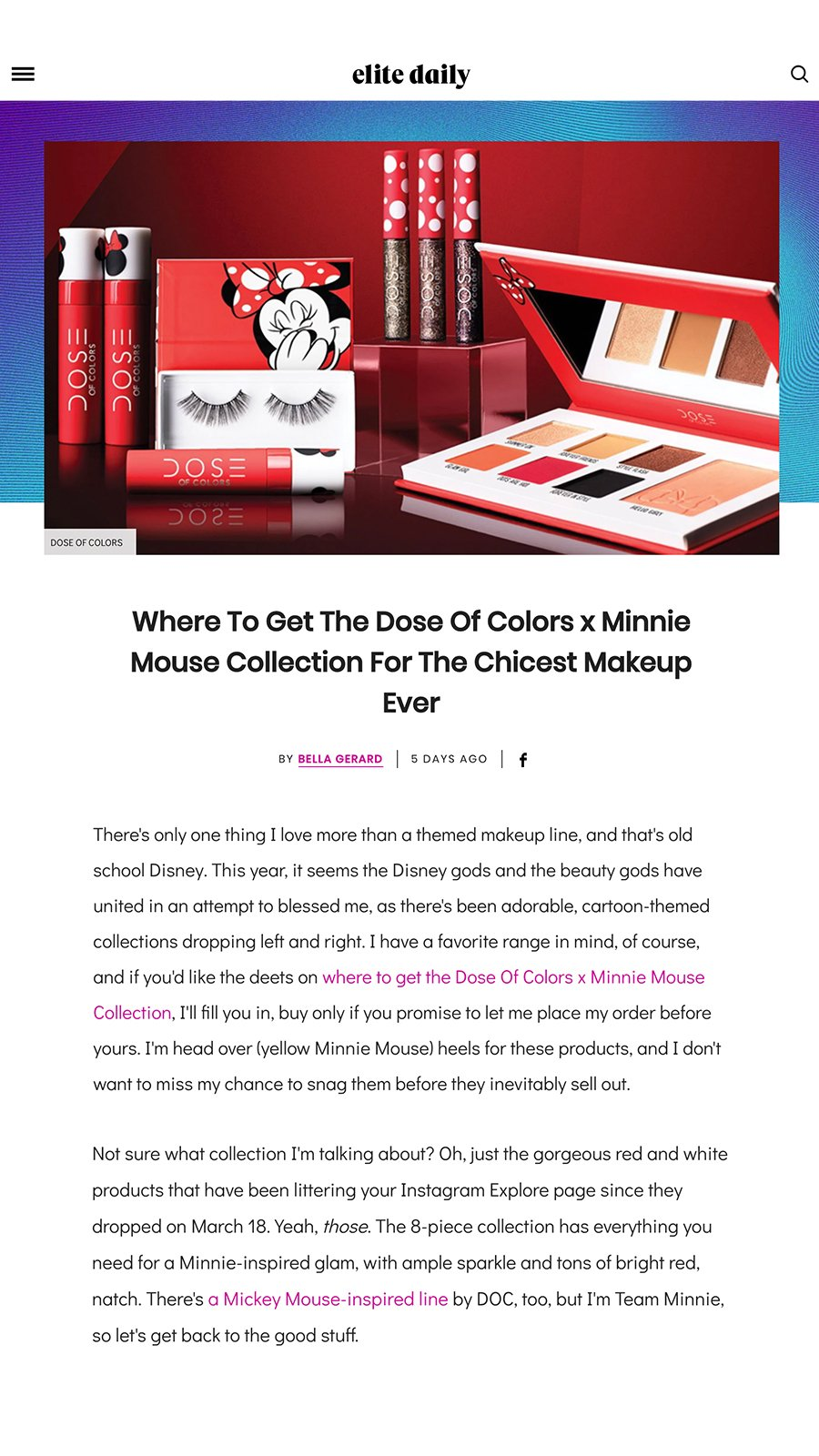 Elite Daily - Minnie Mouse x Dose of Colors Collection