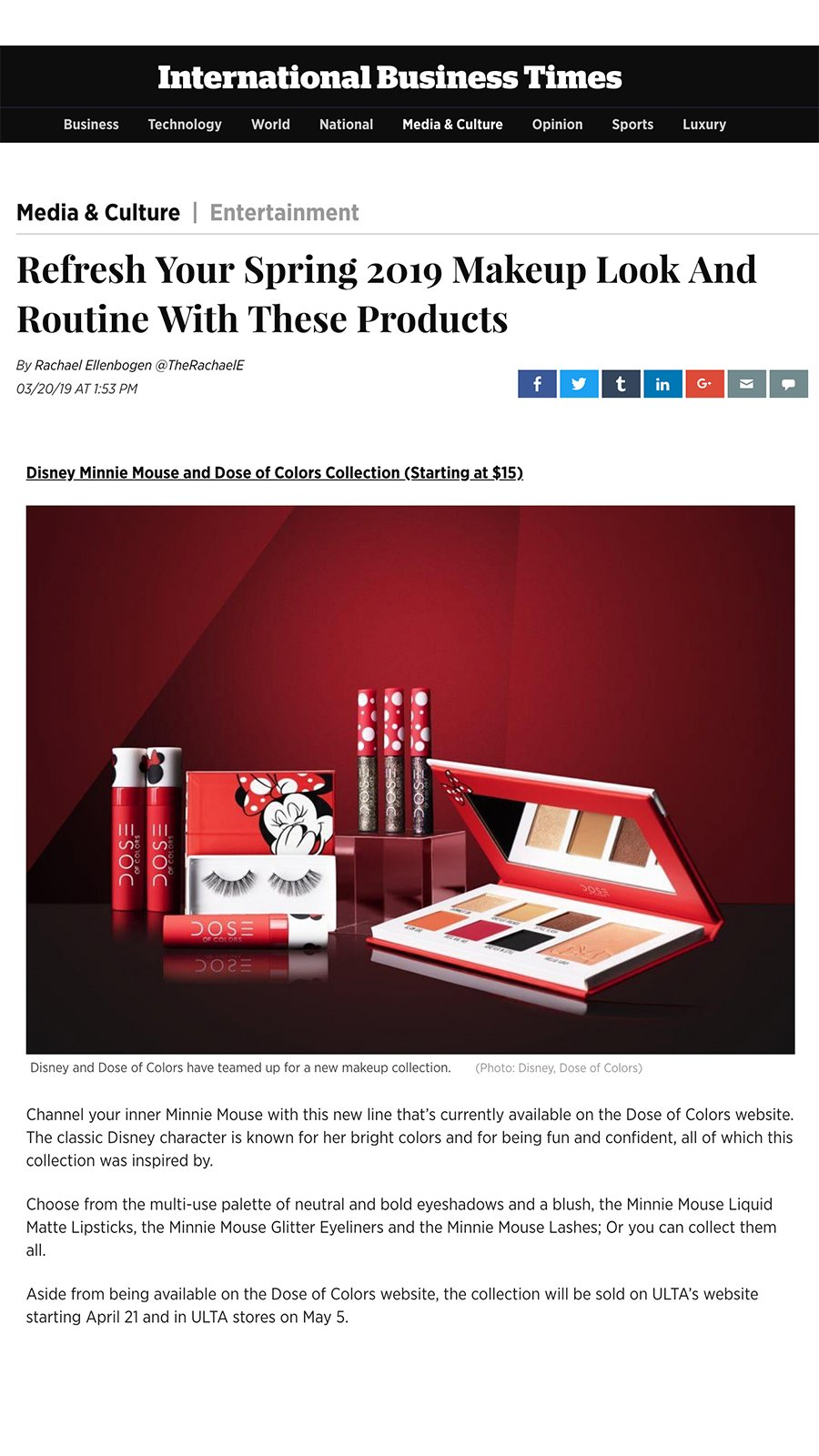 International Business Times - Minnie Mouse x Dose of Colors Collection