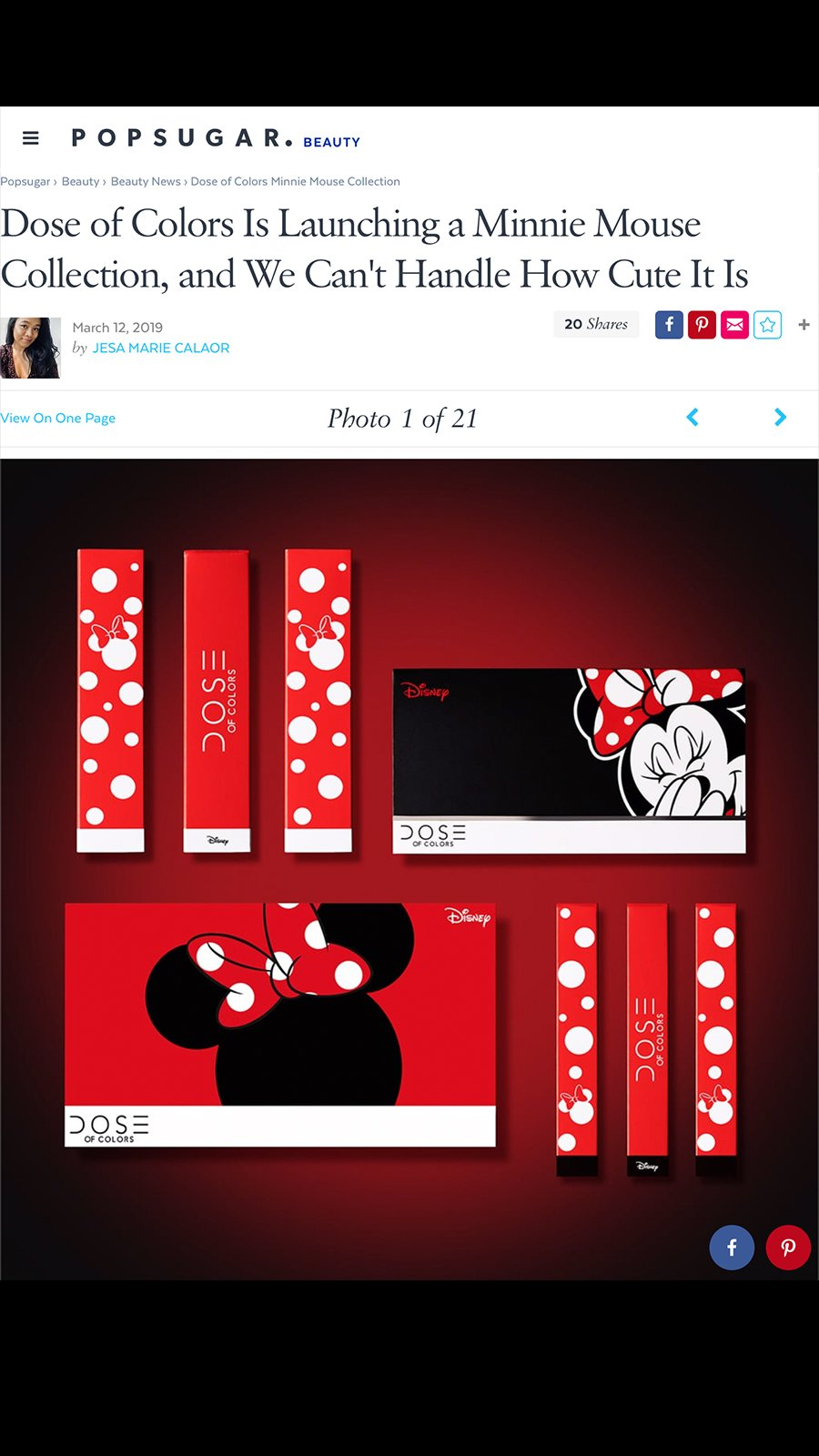 Popsugarbeauty - Minnie Mouse x Dose of Colors Collection