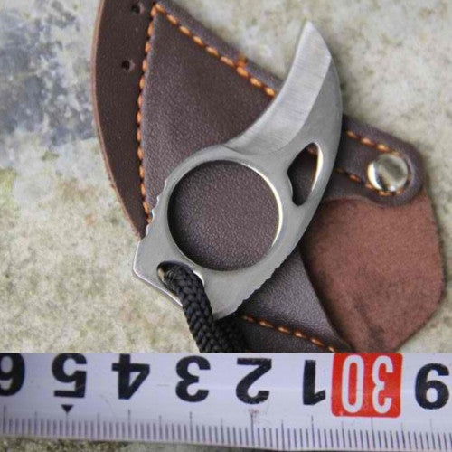 Camping Mini Carabiner Knife with Leather