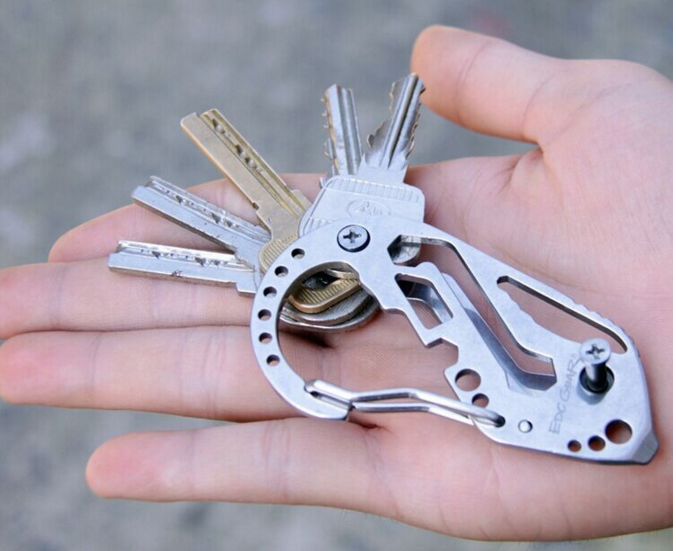 Outdoor Carabiner Clip EDC Fitting Screwdriver Wrench Hiking Tool