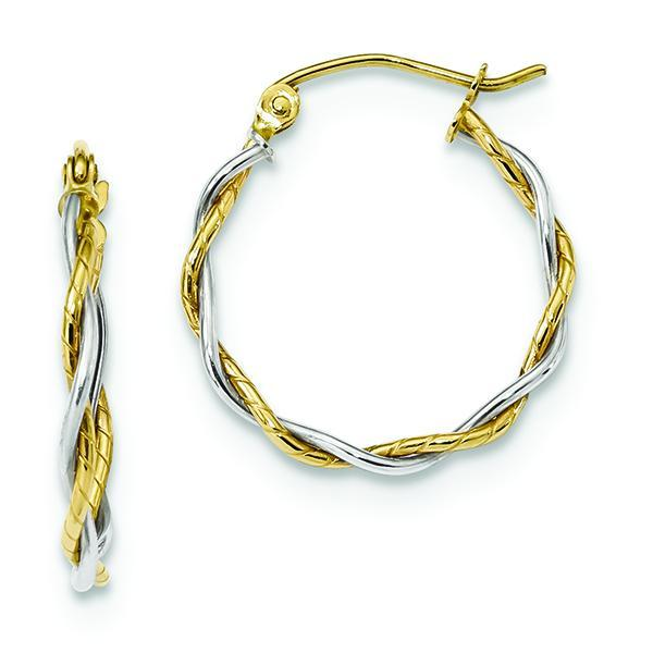 10K Two-Tone Gold Twisted Hoop Earrings Earrings from [shop name]