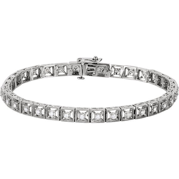 14K White Gold Diamond Fashion Tennis Bracelet Bracelet from [shop name]