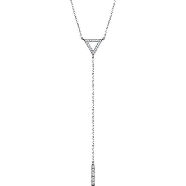 14K White Diamond Triangle & Bar Y Necklace Necklace from [shop name]