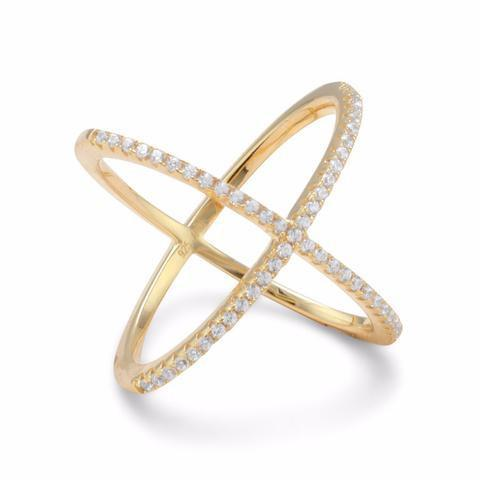 "18 Karat Gold Tone Criss Cross ""X"" Ring Signity Cubic Zirconia from Miles Beamon Jewelry - Miles Beamon Jewelry"