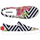 Striped Floral Bucketfeet Shoes by Threadless