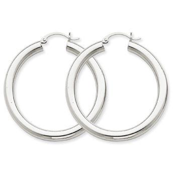 14k 4 mm White Gold Hoop Earrings Earrings from [shop name]