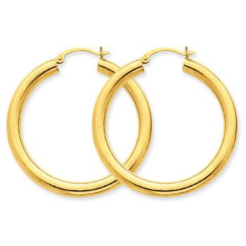 14K 4mm Lightweight Round Hoop Earrings Earrings from [shop name]
