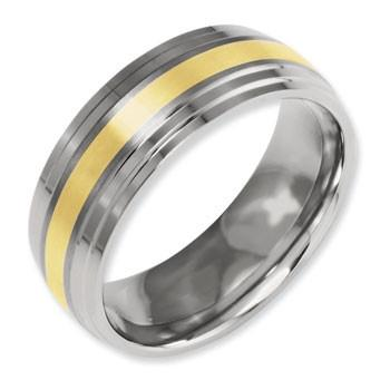 Titanium & 14K Yellow Inlay Band Ring from Miles Beamon Jewelry - Miles Beamon Jewelry