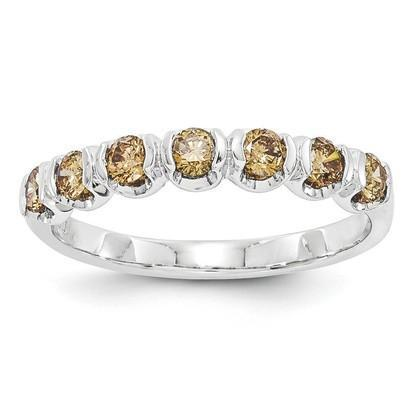14K White Gold Champagne Diamond Band Ring from [shop name]