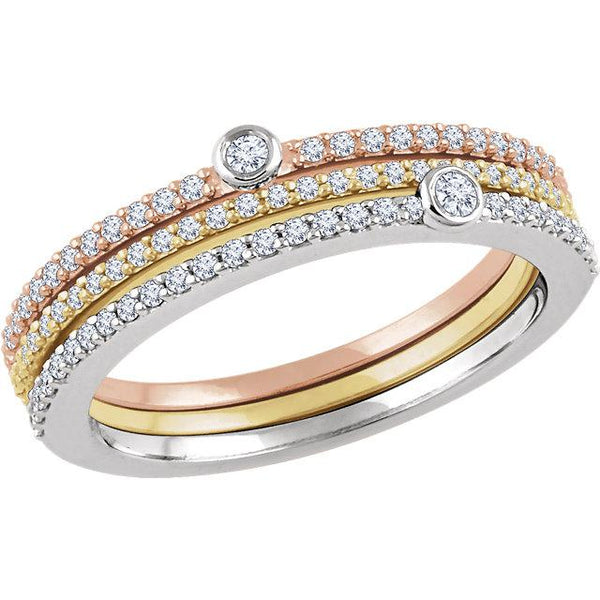 14K Tri-Color Gold Diamond Stackable Rings Ring from [shop name]