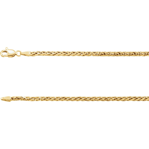 "14k Yellow Gold Hollow Wheat 24"" 3mm Chain Chain from [shop name]"