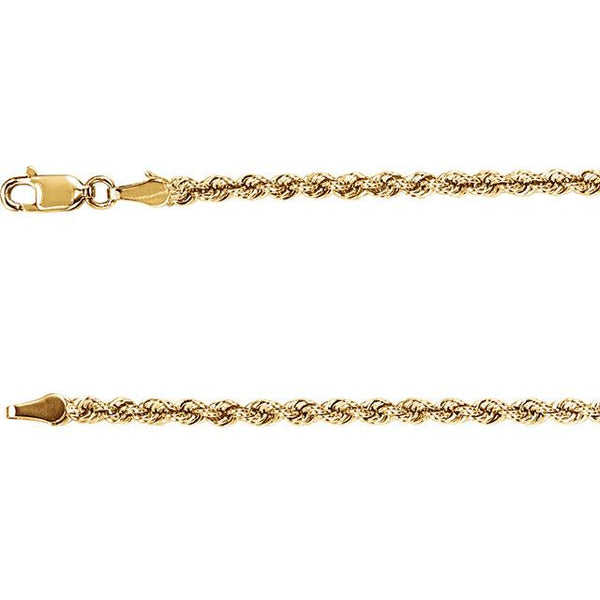 "14K Yellow Gold Rope Chain 24"" 3mm Chain from [shop name]"
