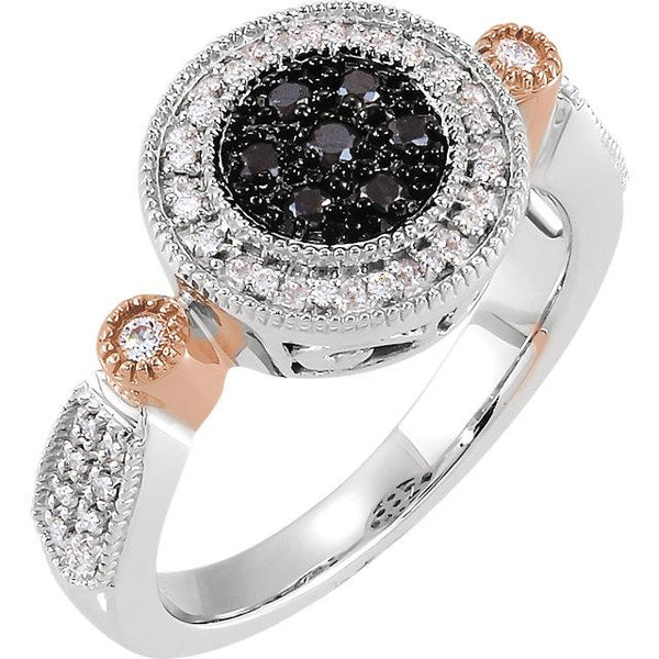 14K White Gold & Rose Gold 1/4 CTW Black & White Gold Diamond Ring Ring from [shop name]