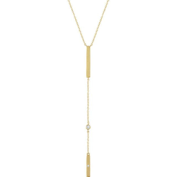 14K Yellow Gold .06 CWT Diamond Bar Necklace Necklace from [shop name]