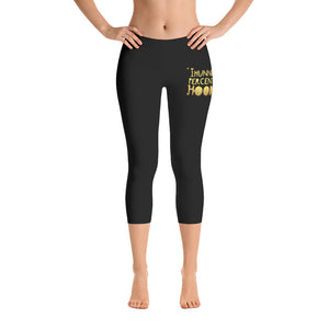 Ladies 1Hunnid Percent Hood Gold Logo Capri Leggings