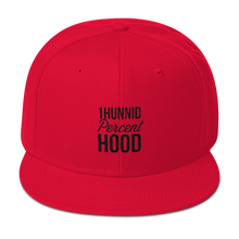 Black Logo 1Hunnid Percent Hood Snapback Hat Snapback Cap from [shop name]