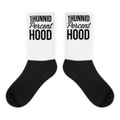1Hunnid Percent Hood Black foot socks