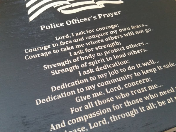 American Flag with Police Officer's Prayer Black Keepsake Box