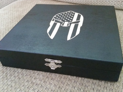 Spartan Helmet with American Flag Keepsake Box - Thin Blue Line