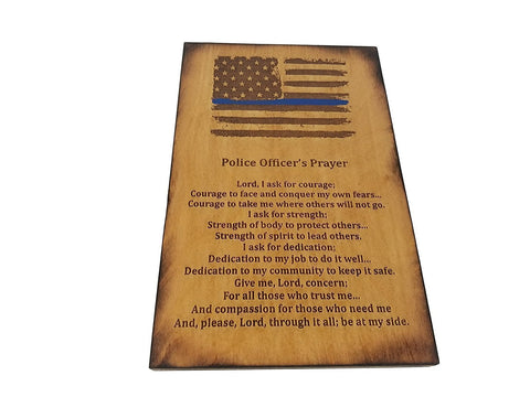 Police Officer Gift Sign - Distressed American Flag with Thin Blue Line and Police Officer's Prayer