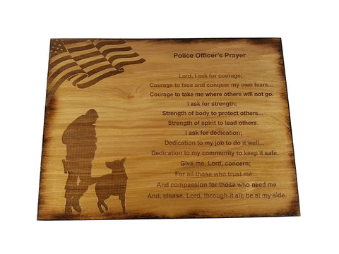 "Police Officer Prayer Wall decor with American Flag and Police K9 Silhouette - 8.5"" x 11.5"" Oak Stained Sign"