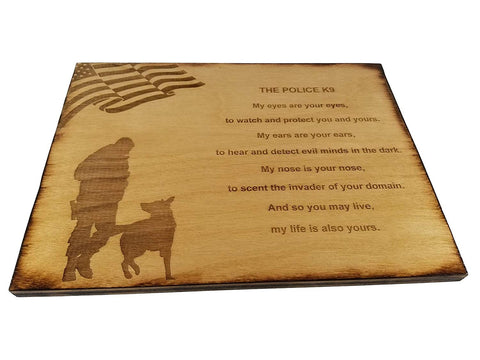 "Police Officer K9 Poem Wall decor with American Flag and Police K9 Silhouette - 8.5"" x 11.5"" Oak Stained Sign"
