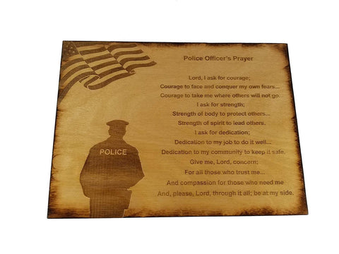 "Police Officer Prayer Wall decor with American Flag and Police Silhouette 8.5"" x 11.5"" Sign"