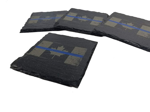 Canadian Police Thin Blue Line Distressed Canadian Flag Slate Coaster Set