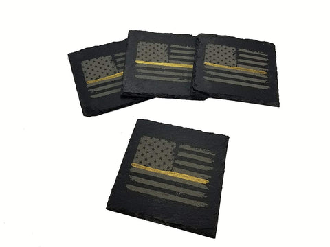 Dispatcher Thin Gold Line Distressed American Flag Slate Coaster Set