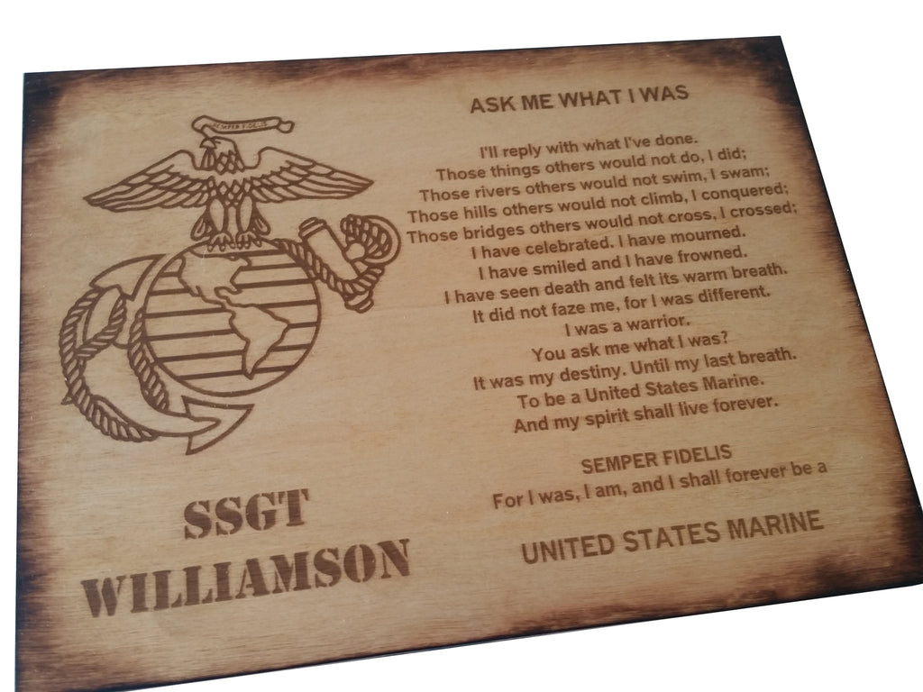 personalized usmc ask me what i was oak stained retirement