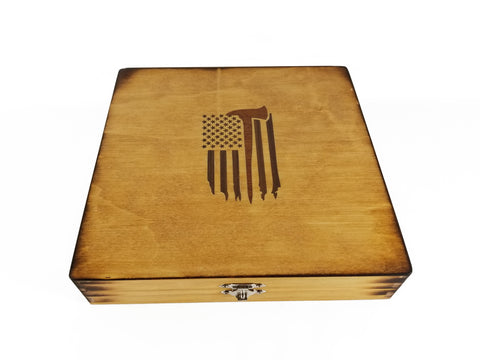 Firefighter American Flag with Axe Inlay Keepsake Box
